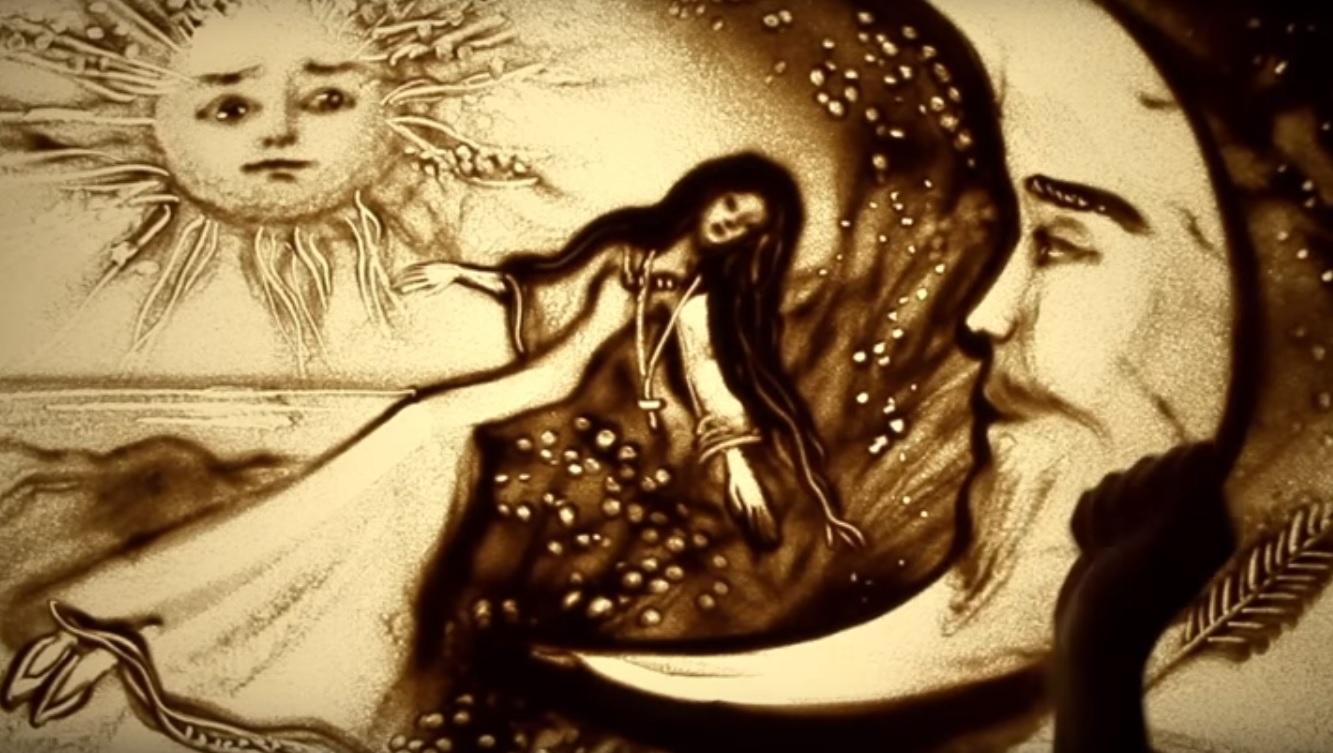 Россиян поздравили «Русской сказкой», нарисованной песком