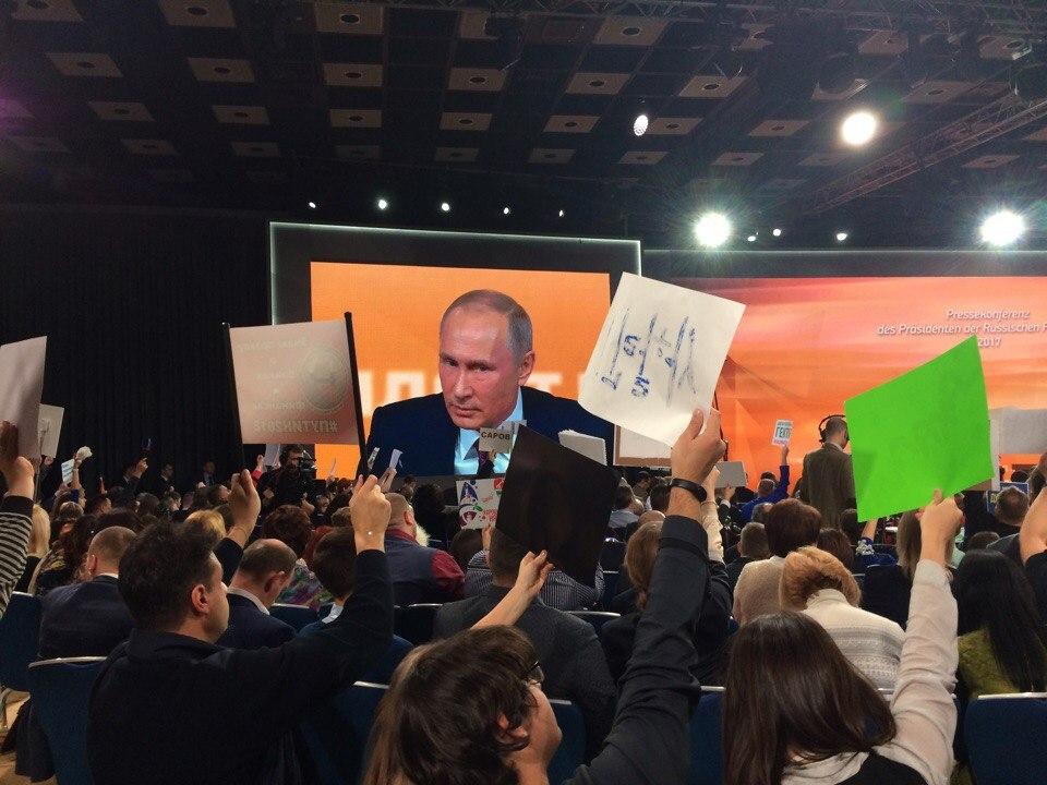 На большую пресс-конференцию Путина под видом журналиста проник директор мурманского предприятия