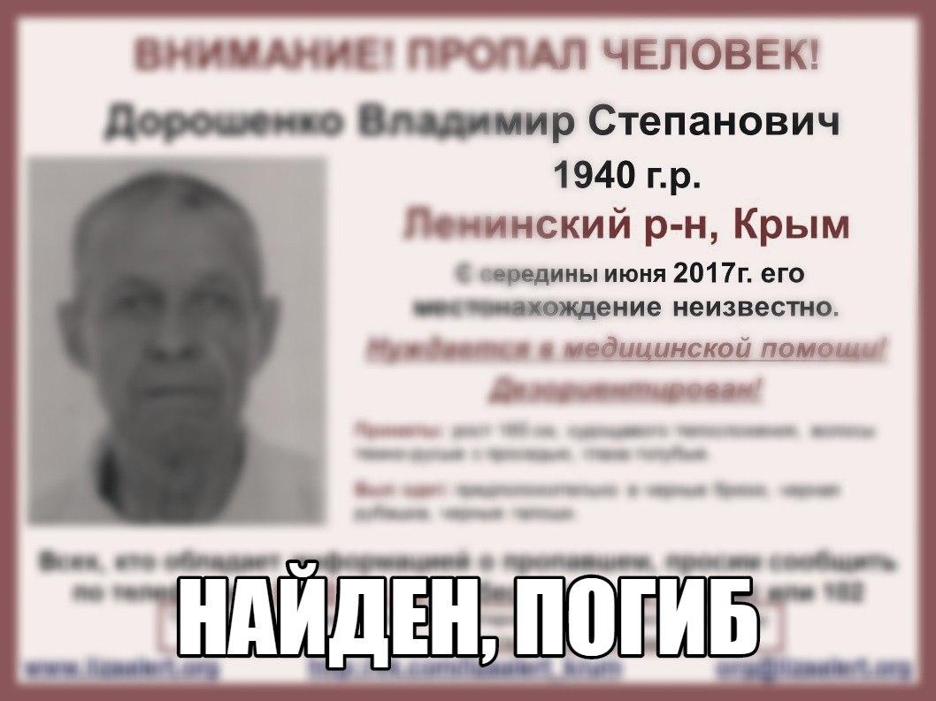 Пропавший летом в Крыму мужчина найден мертвым