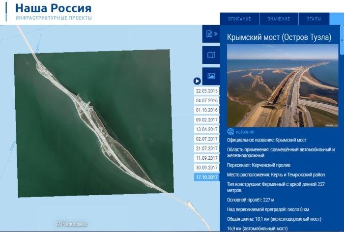Строительство Крымского моста показали с орбиты