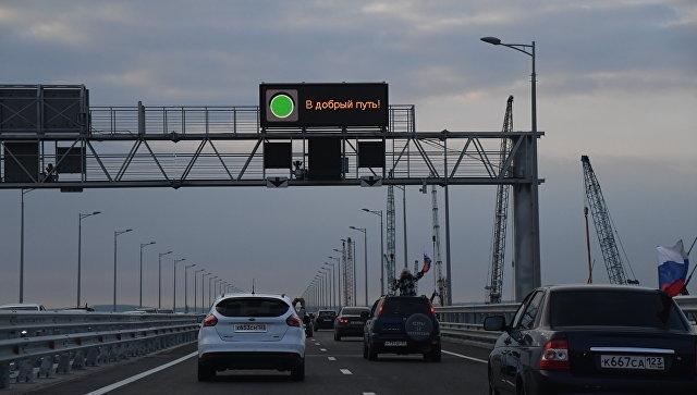 За месяц по Крымскому мосту проехало около полумиллиона автомобилей