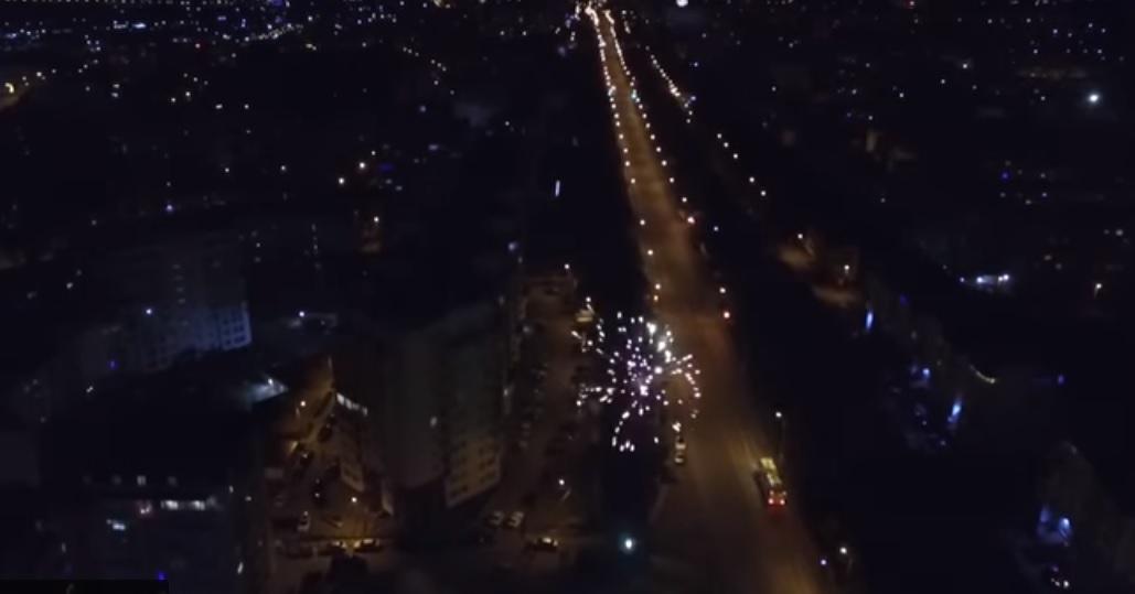 Новогодний фейерверк в Севастополе с высоты птичьего полета