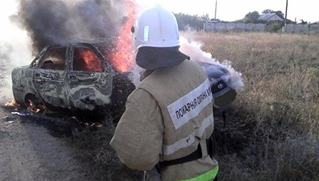 В Крыму горели транспортные средства