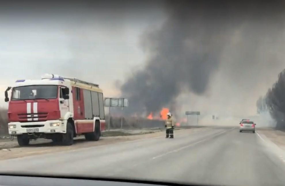 В Евпатории произошел крупный пожар