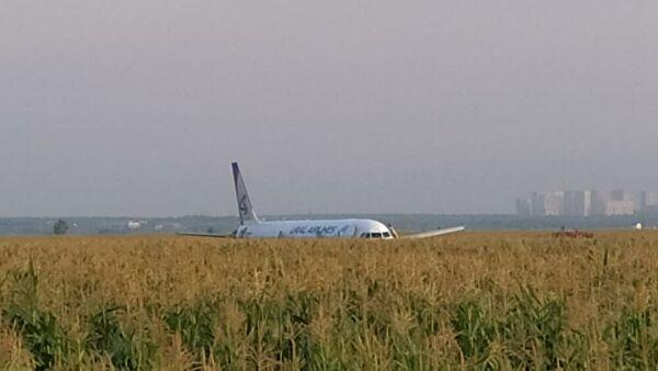 Загорелся двигатель: следовавший в Симферополь самолет вынужденно приземлился в поле