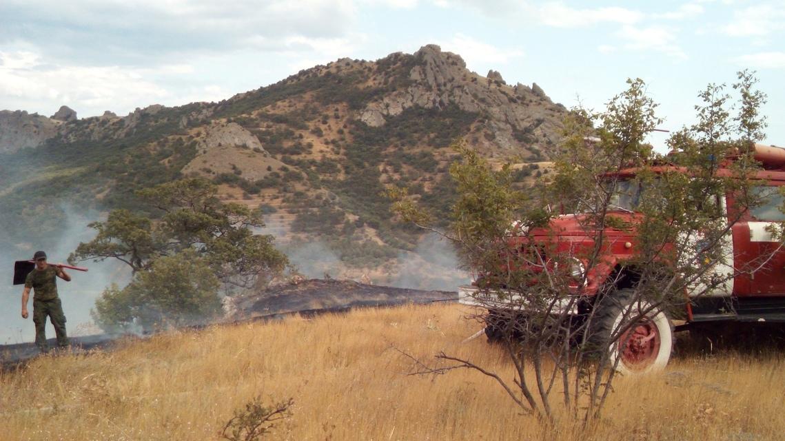 Возле Карадагского заповедника выгорело 1,5 га травы — пожар не могут потушить
