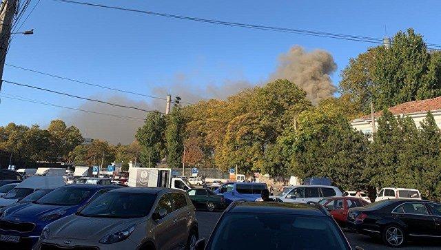 В Симферополе горит стадион