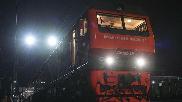 Как выглядит проезд на поезде по Крымскому мосту из кабины машиниста