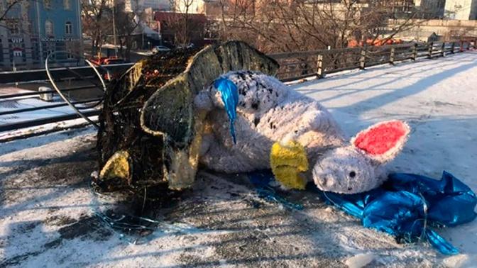 В новогоднюю ночь на главной площади Владивостока вандалы сожгли символ года