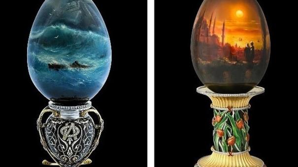 Крымский ювелир создал уникальную коллекцию яиц с картинами Айвазовского