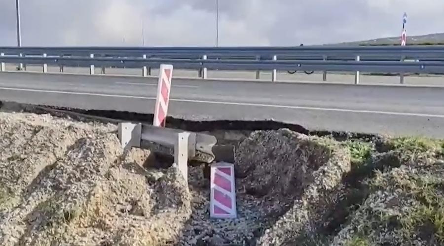 Часть новой объездной дороги в Крыму обвалилась из-за прошедших дождей