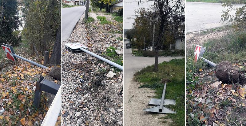В Инкермане злоумышленники повредили дорожные знаки