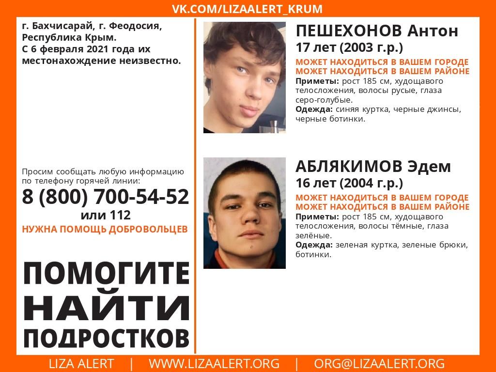 Внимание! В Крыму без вести пропали двое подростков