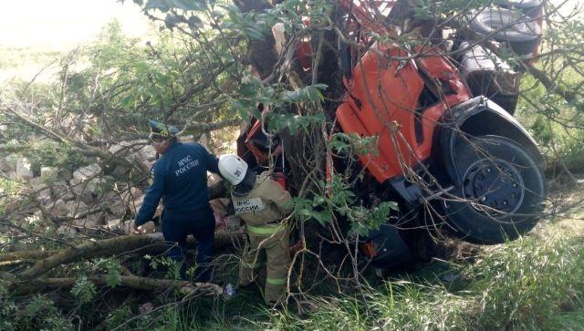 В Крыму КамАЗ врезался в дерево